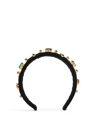 Dolce And Gabbana Crystal Embellished Headband Black Multi