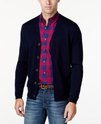Club Room Men's Italian Yarn Cardigan Classic Fit Navy Blue