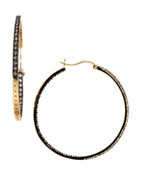 Freida Rothman Belargo Pav Cubic Zirconia Hoop Earrings Black