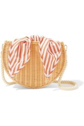 Kayu Dylan Wicker And Striped Cotton Canvas Shoulder Bag Beige