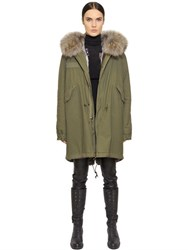 Mrandmrs Italy Cotton Canvas Parka With Rabbit Fur