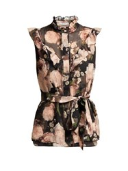 Erdem Jeanine Dutch Petal Print Silk Top Black Pink
