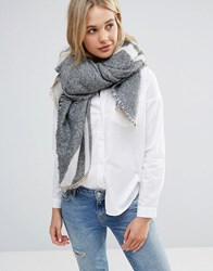 Lavand Oversized Stripe Scarf Grey