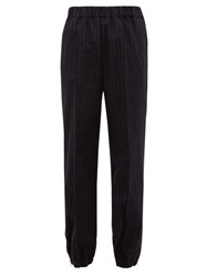 Hillier Bartley Pinstriped Tailored Wool Trousers Navy White