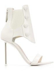 Alexander Mcqueen Ribbed Ankle Sandals White