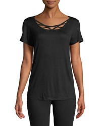 Marc New York Strappy Front Short Sleeve Tee Black