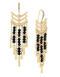 Laundry By Shelli Segal Beaded Chandelier Earrings Black