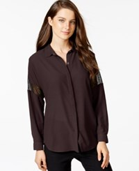 Calvin Klein Jeans Button Front Lace Inset Shirt Elderberry