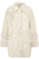 Tory Burch Everly Reversible Shearling Coat Ivory