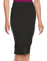 Lord And Taylor Front Slit Ponte Pencil Skirt Charcoal Heather