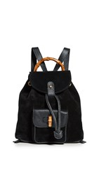 Wgaca What Goes Around Comes Around Gucci Black Suede Bamboo Backpack