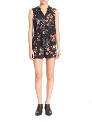Rebecca Taylor Silk Meadow Romper Black Combo
