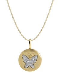 Macy's Diamond Butterfly Disk Pendant Necklace In 14K Gold 1 10 Ct. T.W.