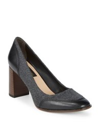 Donna Karan Shelby Leather And Wool Pumps Charcoal Black