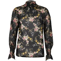 River Island Womens Black Floral Sheer Mesh Blouse