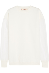 Marni Cotton Blend Jersey And Tulle Sweatshirt