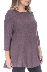 Bobeau Plus Size Brushed Knit Babydoll Top Peppercorn