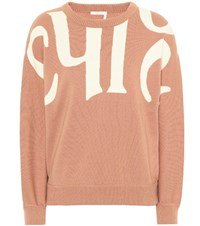 Chloe Wool And Cotton Sweater Pink
