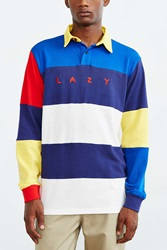 Lazy Oaf Striped Rugby Shirt Blue