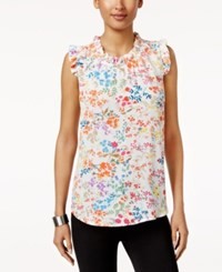 Cable And Gauge Ruffled Floral Print Top Multi Floral Print