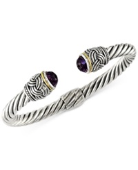 Effy Collection Effy Amethyst 4 9 10 Ct. T.W. Hinge Bangle Bracelet In 18K Gold And Sterling Silver