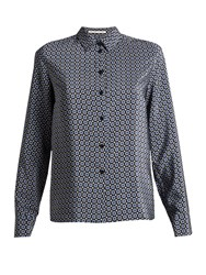 Stella Mccartney Wilson Point Collar Geometric Print Shirt Navy Print