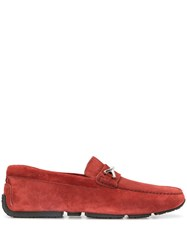 Bally Woven Strap Loafers Red