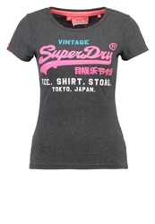 Superdry Print Tshirt Pitch Black Marl Grey