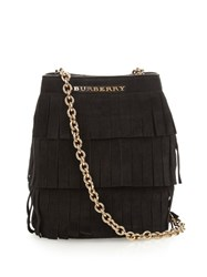 Burberry Mini Fringed Suede Bucket Bag