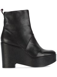 Robert Clergerie Wedge Heel Ankle Boots Leather Rubber Black
