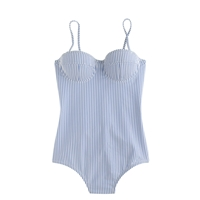 J.Crew Seersucker Underwire One Piece Swimsuit Blue