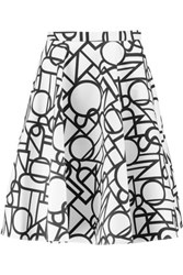 Raoul Piper Geometric Print Cotton Blend Skirt White