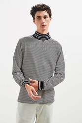 Urban Outfitters Uo Striped Turtleneck Long Sleeve Shirt Black White