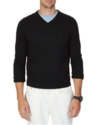 Nautica Solid V Neck Sweater True Black