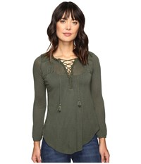 Lucky Brand Lace Front Peasant Thyme Women's Clothing Green