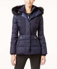Jones New York Faux Fur Trim Hooded Quilted Puffer Coat Navy