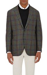 Luciano Barbera Men's Checked Two Button Sportcoat Green