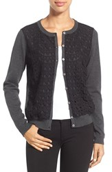 Vince Camuto Petite Women's Lace Front Cardigan Dark Heather Grey