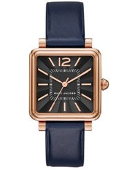 Marc Jacobs Women's Vic Navy Leather Strap Watch 30Mm Mj1523 Blue