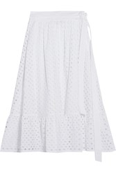 Tory Burch Hermmosa Broderie Anglaise Cotton Midi Skirt White