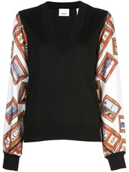 Burberry Scarf Print Knitted Top Black