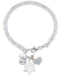 Disney Two Tone Frozen Charm Bracelet In Sterling Silver And 14K Gold Plated Sterling Silver