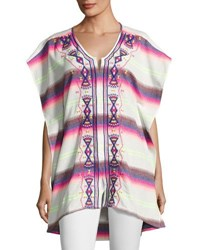 Ondademar Lush Embroidered Poncho Multi