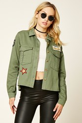 Forever 21 Contemporary Army Patch Jacket Olive