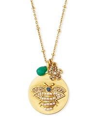 Sequin Round Bee Talisman Pendant Necklace Gold