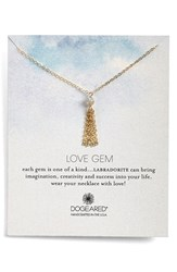 Women's Dogeared 'Love Gem' Tassel Chain Pendant Necklace Labradorite Gold
