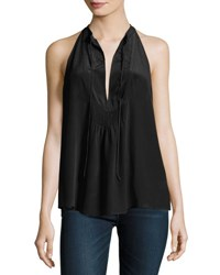 A.L.C. Levi Sleeveless Silk Satin Top Black