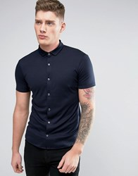 Armani Jeans Jersey Shirt Short Sleeve Slim Fit Stretch In Navy Blu Notte