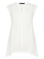 Karen Millen Embroidered Sleeveless Shirt White