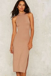 Pia Ribbed Midi Dress Brown